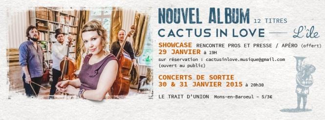 Bannière carton Cactus in Love + dates